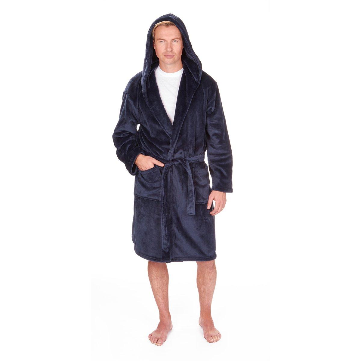Pierre Roche - Big & Tall Men's Fleece Hooded Bathrobe with Pockets