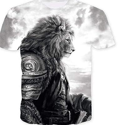 JXKEF Camiseta 3D Impresora Animal Lion Hombre Camiseta De Manga ...