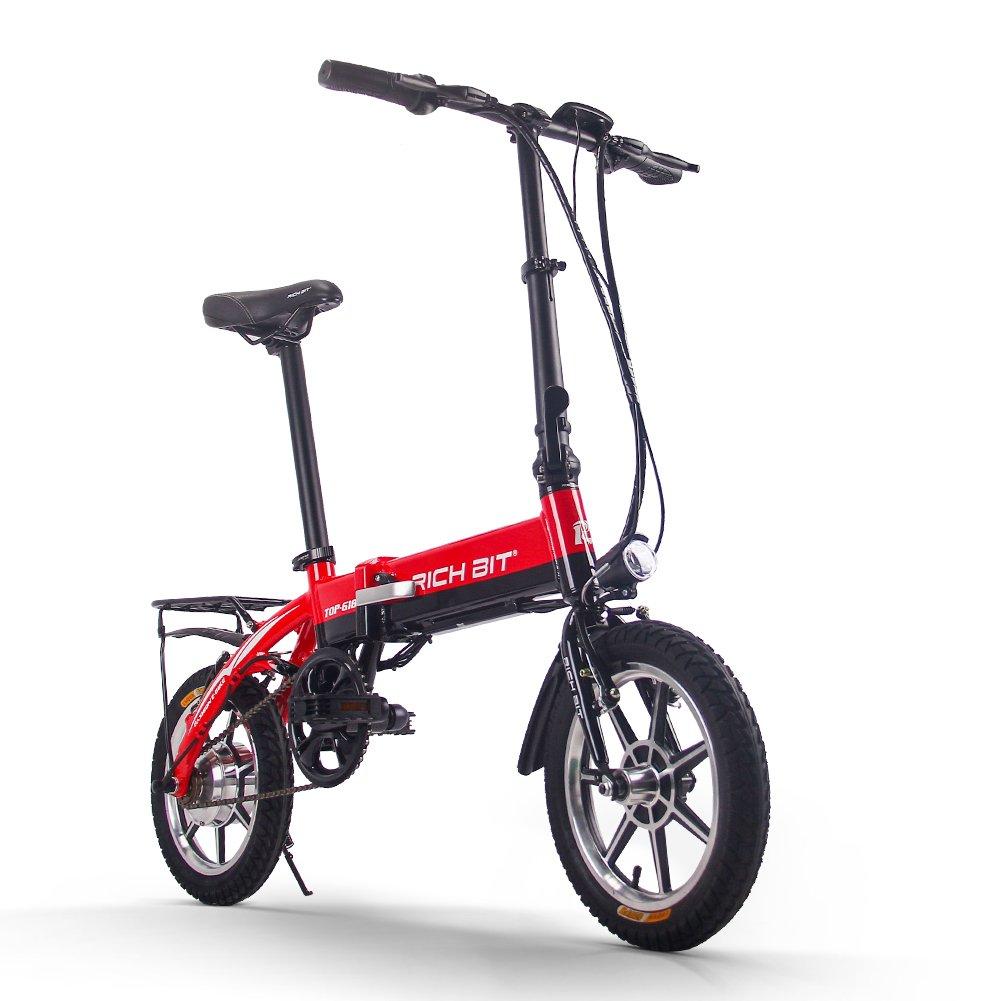 RICH BIT TP618 電動アシスト自転車 14インチ 折りたたみ アップグレード版 LCD付き ミニバイク 法律に合う B074JC6VPC レッド レッド