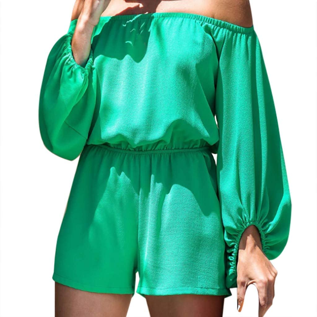 Womens Off Shoulder Ruffle Bodysuit Leotards Rompers Jumpsuits Stretch Tube Bodycon Leotard Bodysuit by perfectCOCO
