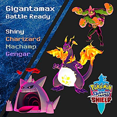 Shiny Gigantamax Charizard, Gengar, Machamp for Sword and Shield: Toys & Games