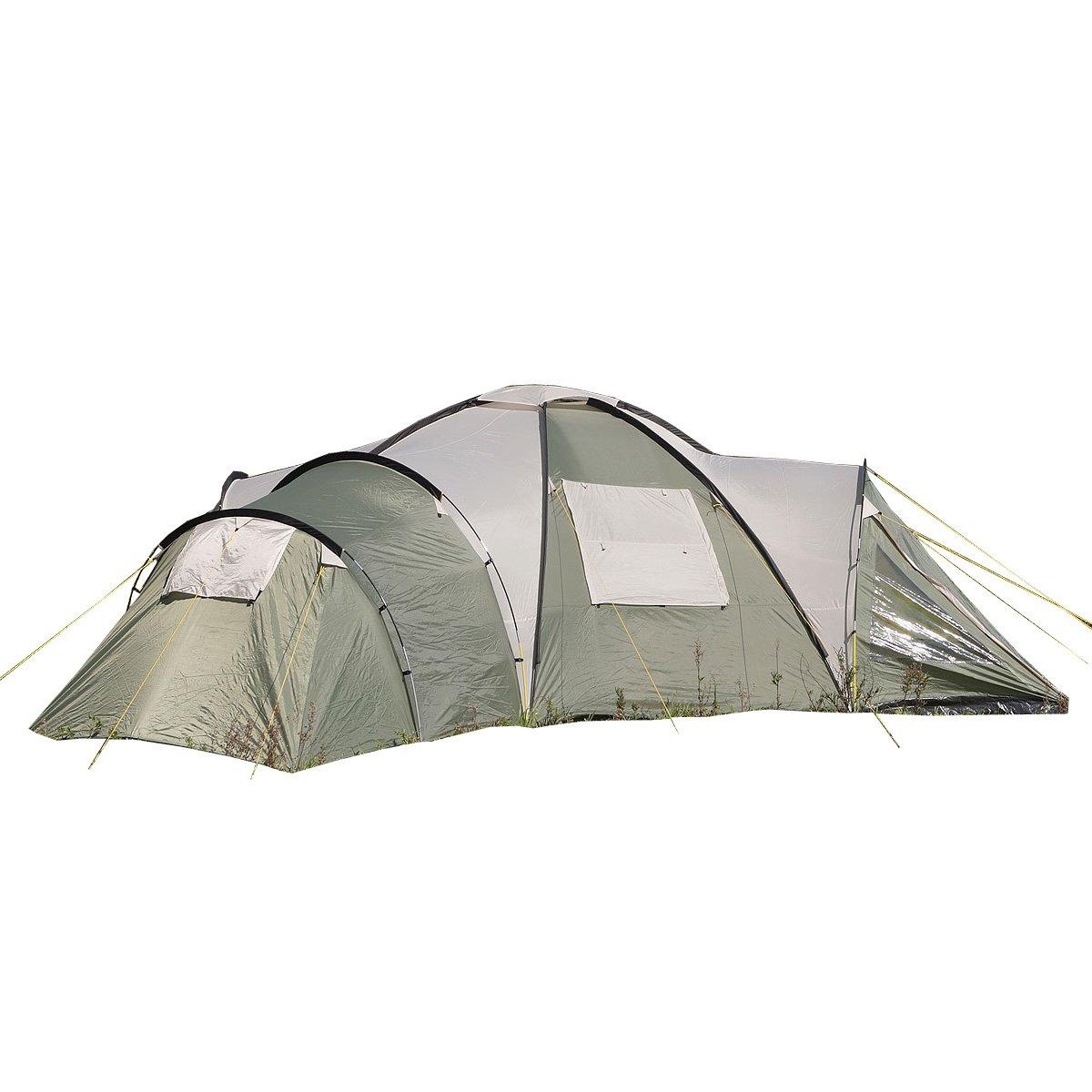 Skandika Korsika 8-Personen Kuppelzelt, mit 3 Schlafkabinen, 210cm Stehhöhe Stehhöhe 210cm und 5000mm Wassersäule, Familienzelt 535bd1