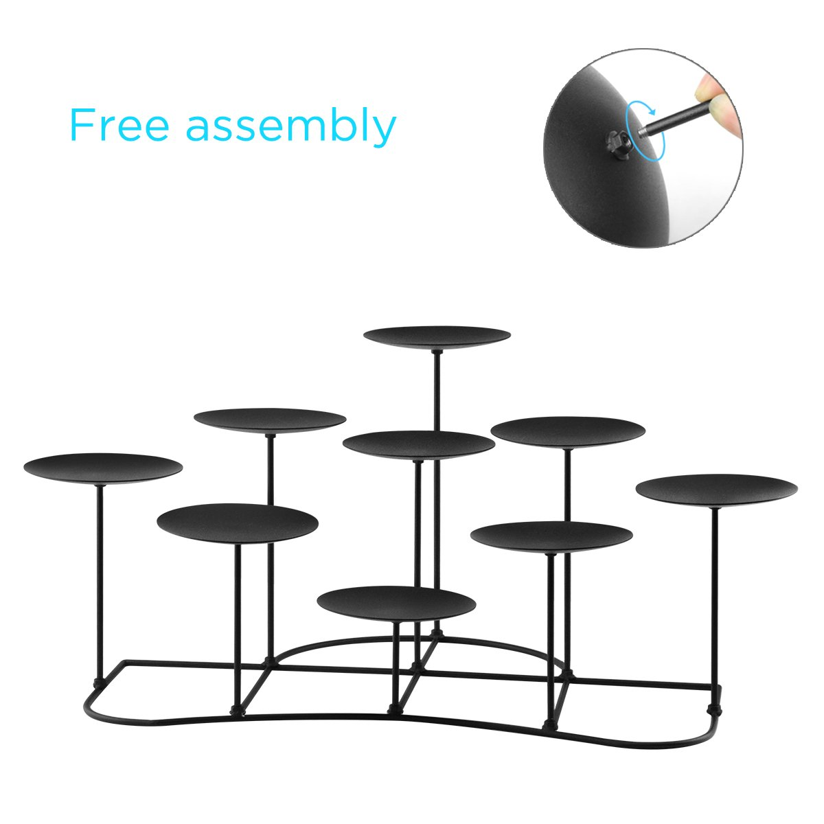 smtyle DIY 9 Mantle Candelabra Flameless or Wax Candle Holders For Fireplace with Black Iron Decoration on Desk / Floor by smtyle (Image #3)