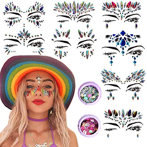 Temporary Nail Tattoos (Onshine Face Gems 8 Sets Mermaid Crystal Temporary Tattoos Rhinestone and 2 Boxes of Nail Sequins Body Glitter Rave Clothes Face Jewels Festival)