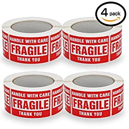 4 Rolls/2000 Labels,Handle With Care–Fragile–Thank You, Red Warning Shipping Label Stickers (2\