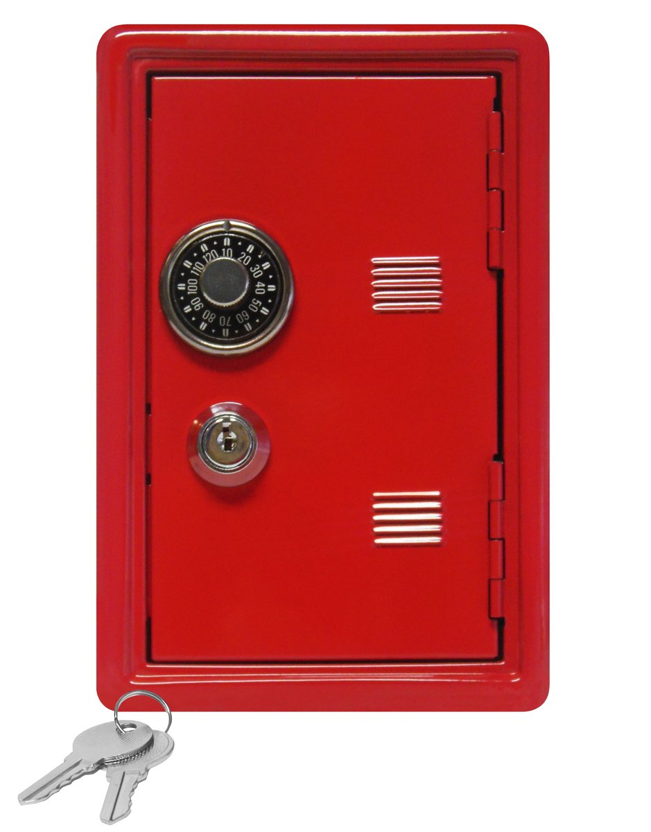 Kid's Coin Bank Locker Safe with Single Number Combination Lock and Key - 7'' High Red