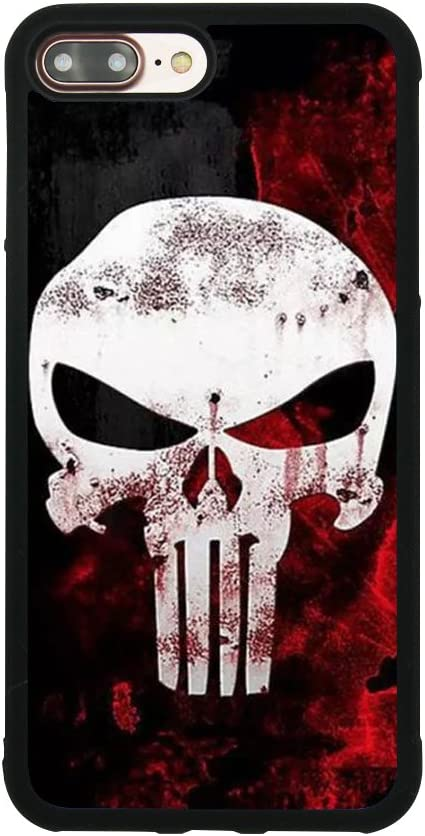 Punisher Skull Logo Case for iPhone 7 Plus/8 Plus (5.5 Inch) Comic TPU Silicone Gel Edge + PC Bumper Case Skin Protective Printed Phone Full Protection Cover