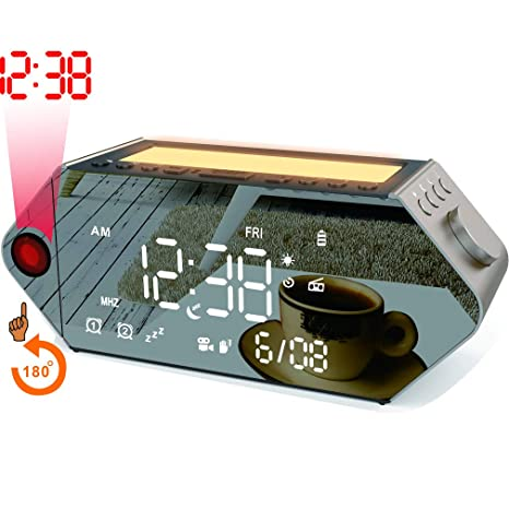 SICSMIAO Projection Alarm Clocks, Sunrise Simulator Alarm Clock, FM Radio, Bluetooth, Dual Alarms with USB Charging Port, White Night Light with Sleep ...