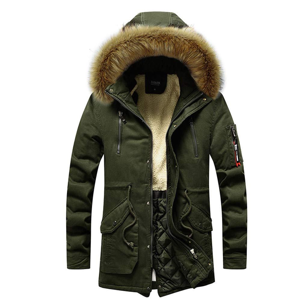 Men Winter Medium Length Hoodie Velvet Thickened Plus Size Cotton Padded Jacket Coat (Army Green, M)