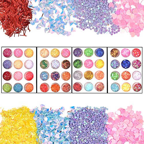 OLYCRAFT 48 Boxes Resin Sequins 4-Pattern Iridescent Flakes Chunky Glitter Sequins for Jewelry Making Dace Body Hair Nail Arts from OLYCRAFT