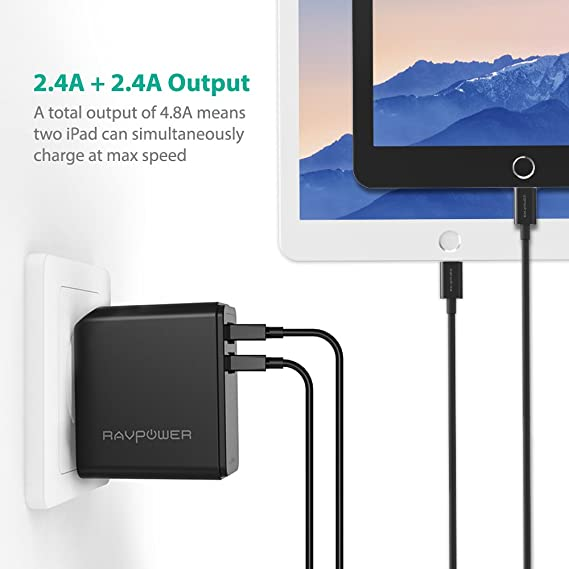 USB Wall Charger RAVPower 24W 4.8A USB Plug, Phone Power Adapter with iSmart Tech, Compatible with iPhone X 8 7 Plus, iPad Pro Air Mini, Galaxy S7 S6 ...