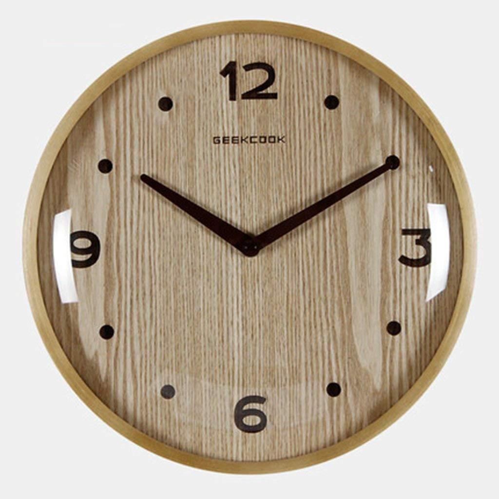 YNMB KS Reloj de Madera Real Tranquilo salón Oficina Relojes ...