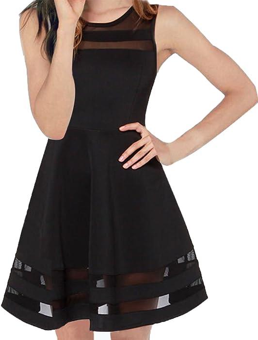 0049f469302 FACE N FACE Women s Mesh Slim Sleeveless Short Mini Flare Dress X-Small  Black