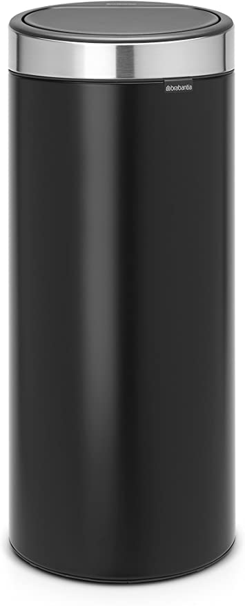 Brabantia 115448 Poubelle Touch Bin Unie New 30 L Noir Mat Avec Couvercle Anti Traces De Doigts