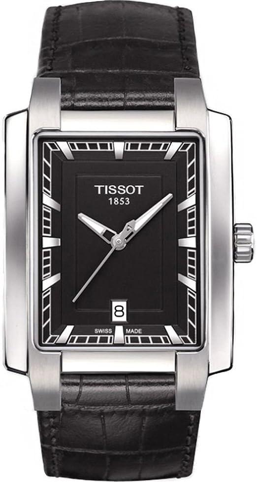 Reloj Tissot de hombre TXL rectangular con correa piel