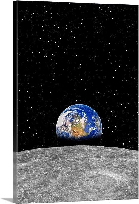 Amazon Com Planet Earth Rising Over Moon Canvas Wall Art Print 16 X24 X1 25 Posters Prints