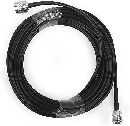 Cable Coaxial para Antena 10 Metros 50-3 Cable Flexible RG58 con Conector N Macho a N Hembra Negro