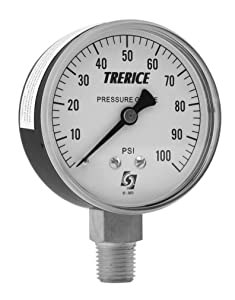 """Trerice 800B4002LA010 Utility Gauge, 4"""" dial, 30"""" Hg to 0, 1/4"""" NPT Brass Connection, Lower Mount"""