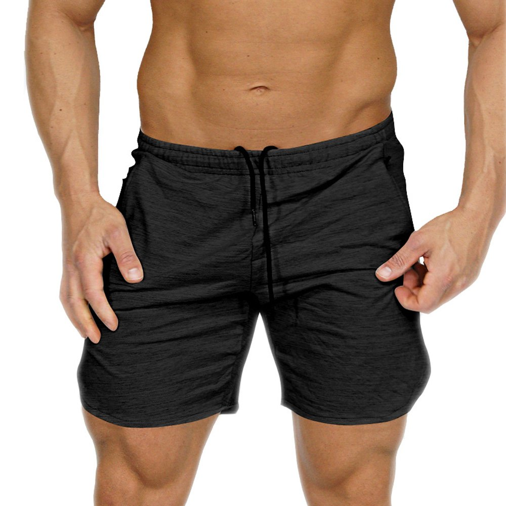 Mens Gym Workout Running Shorts Fitted Training Jogger Pant With Zipper Pockets CIXIZHUSHUI