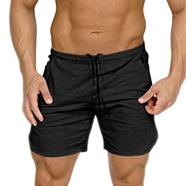 ee3868806 EVERWORTH Men's Gym Workout Shorts Running Short Pants Fitted Training  Bodybuilding Jogger with Zipper Pockets Black