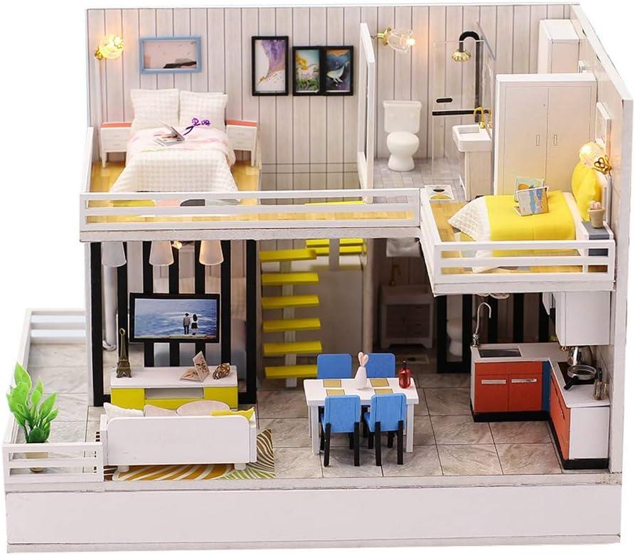 MagiDeal Dollhouse Miniature with Furniture, DIY 3D Doll House Puzzle Kit, Modelo Realista A Escala 1:24 - Juego De Dormitorio, Sala De Estar, Cocina Y Baño