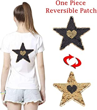 Iron On Reversible Sequin Skull Embroidery Applique Patch for Jeans Jacket