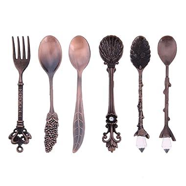 Dessert Spoons,Coffee Spoon Teaspoon,Awakingdemi Vintage Royal Style Metal Carved Fruit Dessert Spoons for Kitchen Dining Bar,6pcs/set (Copper)