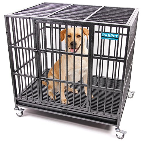PARPET 42 Inch Empire Heavy Duty Dog Crate with Wheels/Steel Tray for Large Dogs, (Empire Dog)