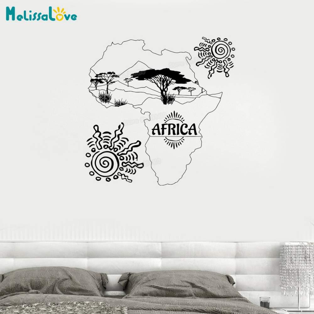 zhuziji Nuevo diseño Tatuajes de Pared Mapa de África Sun Trees ...