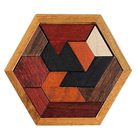 Nicedeal Rompecabezas de Madera Junta Hexágono Niños Puzzles Juguetes de Madera del Rompecabezas Chino de Madera