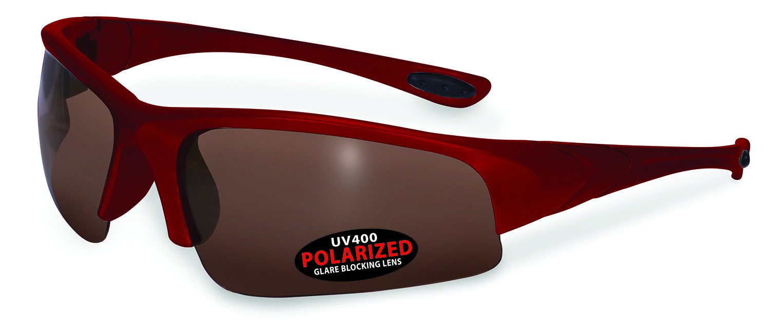 SSP Eyewear CHEWUCH RED BRZ Unisex Polarized Sunglasses with Bronze Lenses, Red