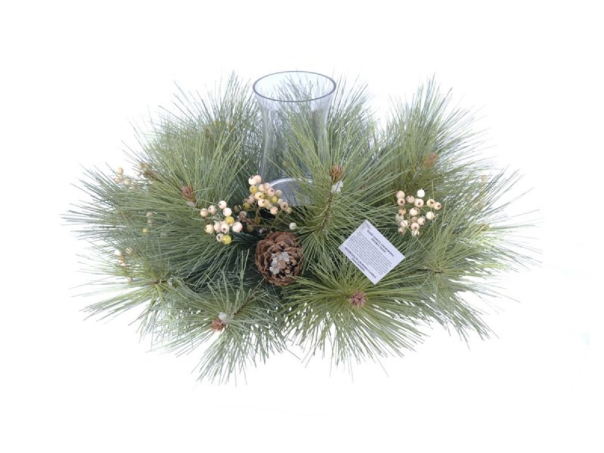 18'' Pine and White Berry Christmas Centerpiece