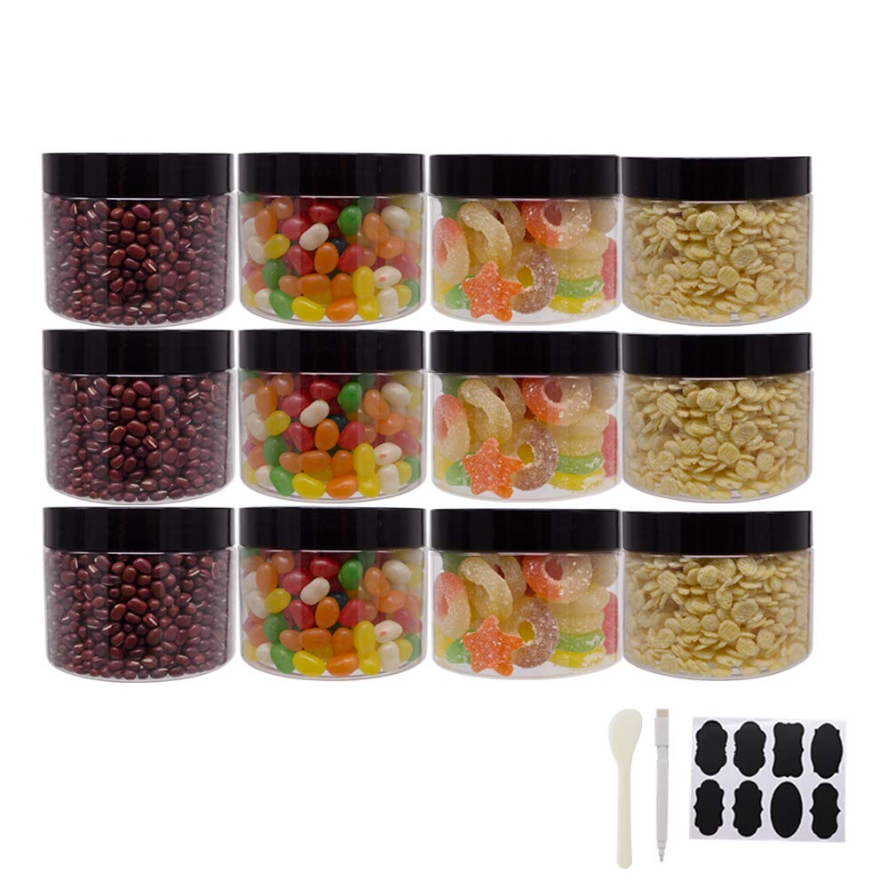 12 Pack 10 oz Clear Plastic Slime Jars With Lids, 1 Spatula, 1 Pen &Labels/Cosmetic Jar for Sugar Scrub, Hair Conditioner/Wide Opening Kitchen Storage jar For Dry Food/Craft Storage by ZMYBCPACK
