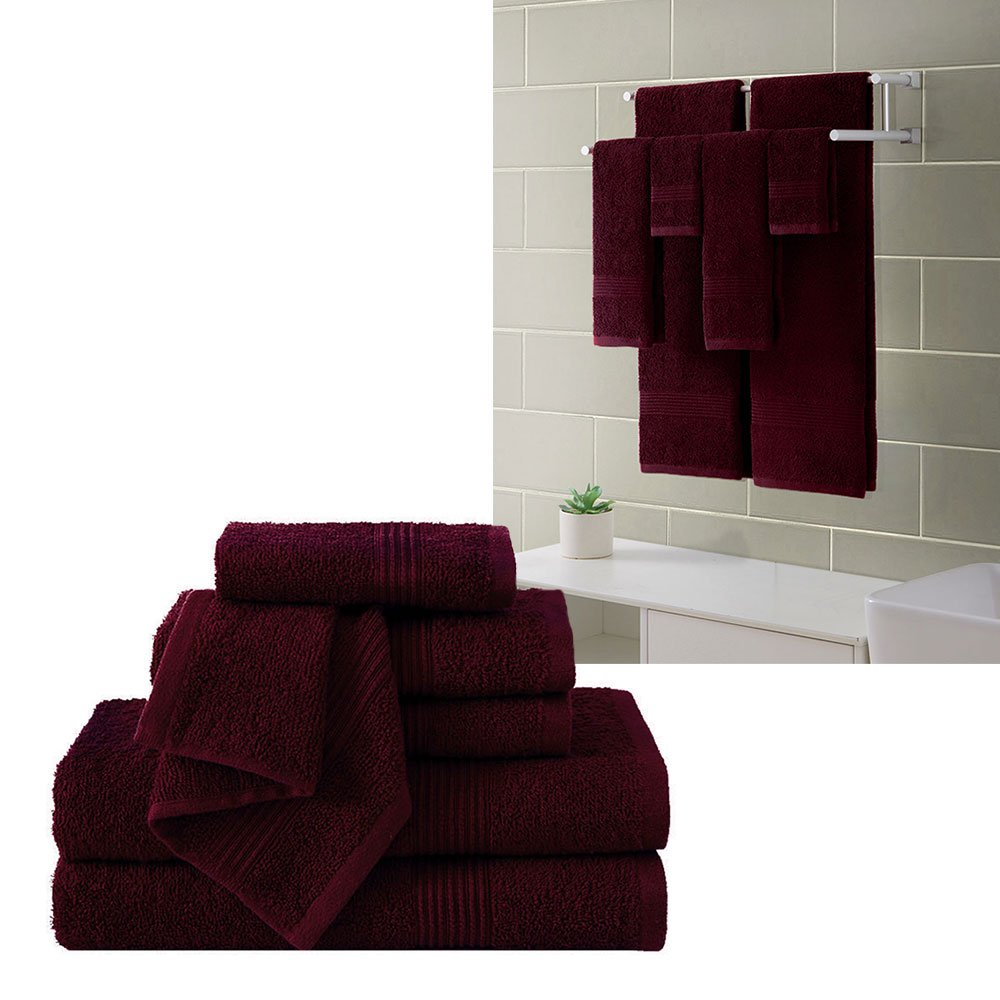 Ribbed Luxury Bath Towel 6 Piece Set 100% Cotton, Burgundy Red (2 Bath Towels 54'' x 27'', 2 Hand Towels 28'' x 16'' and 2 Wash Cloths 13'' x 13'') by HowPlumb (Image #1)