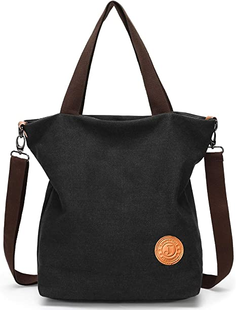 Canvas Shoulder Bag Casual Handbag Crossbody Bag for Women ladies, Large Size and Multi function Pocket Design for Travel School Work Shopping Daily