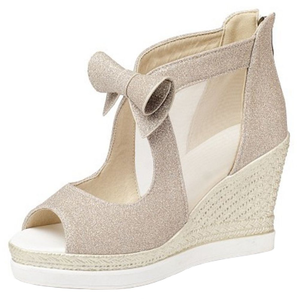 Zanpa Women Fashion Wedges Heels Pumps Sandals B079ZBG34Y 8 US (sole length 25 CM)|Gold
