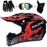 Youth Kids Motocross Helmet, ATV Motorcycle Helmet SUV Dirt Bike Mountain Bike Helmet Gloves Goggles 4 Piece Set Full…