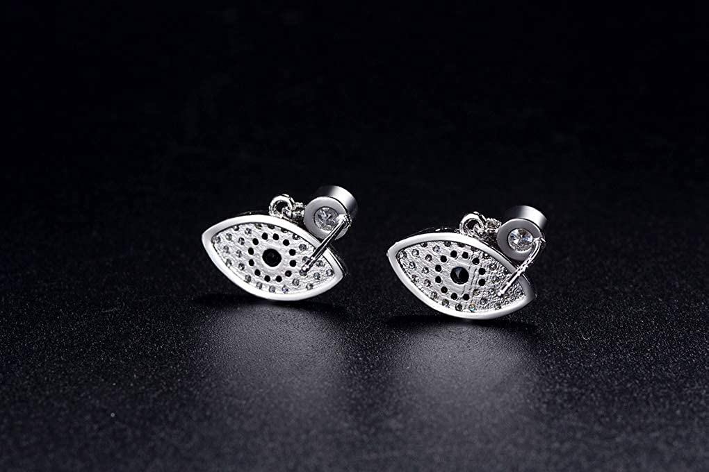Gothic 925 Sterling Silver Plated Evil Eye Stud Earrings Jewelry for Women Girls Gift