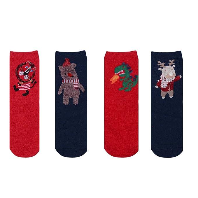 Calcetines de Navidad Mujeres Con Estampado de Patrón Casual Calcetines de Lujo Invierno 4 pares: Amazon.es: Ropa y accesorios