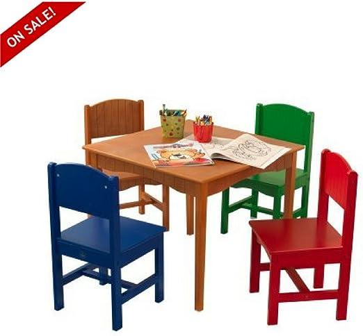 EFD Juego de Mesa y sillas Madera para niños, Juego de 5 Piezas, Mesa de Comedor, Mesa de Actividades y Libros electrónicos por Easy&FunDeals: Amazon.es: Juguetes y juegos
