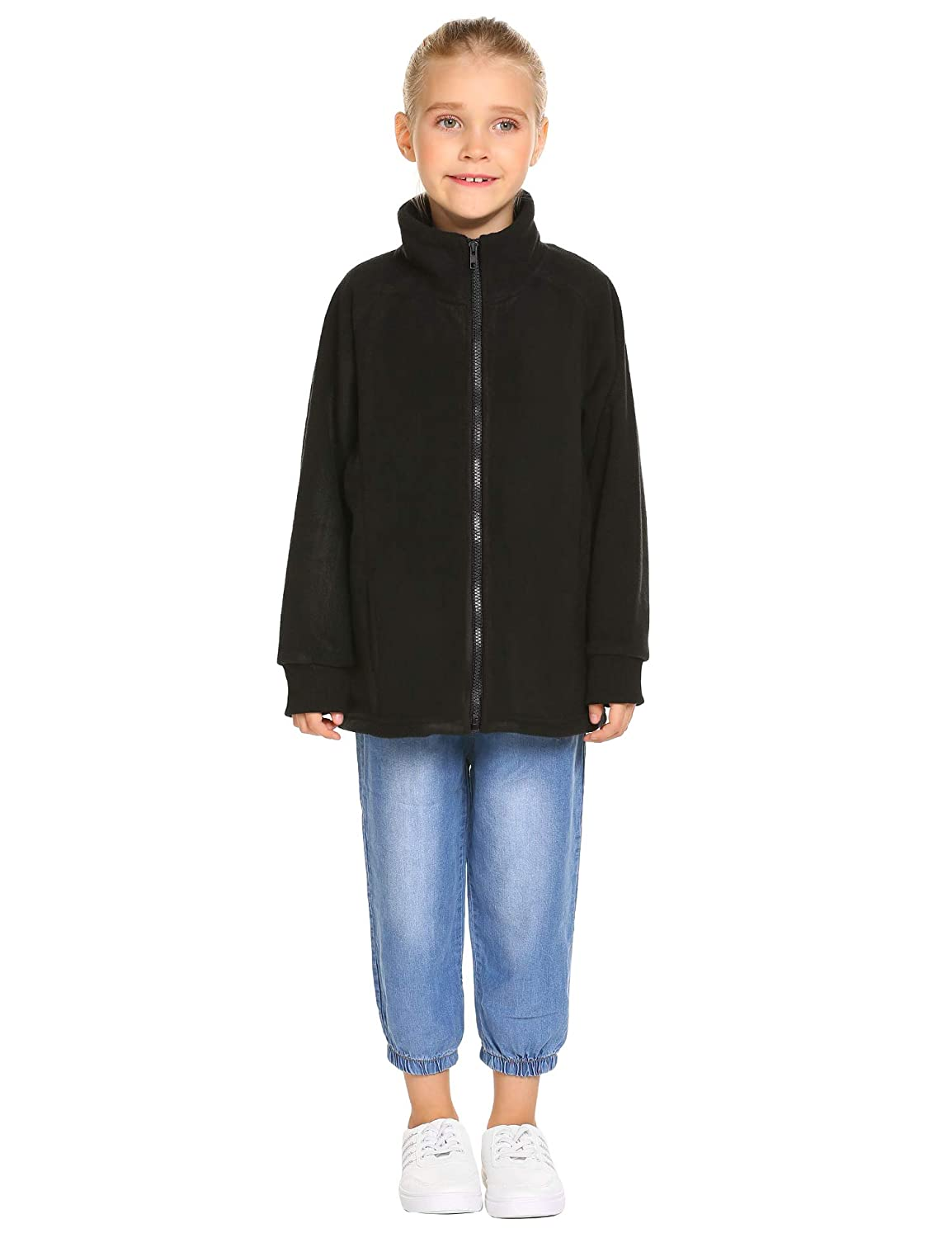 Arshiner Girls Fleece Coat Solid Polo Jacket