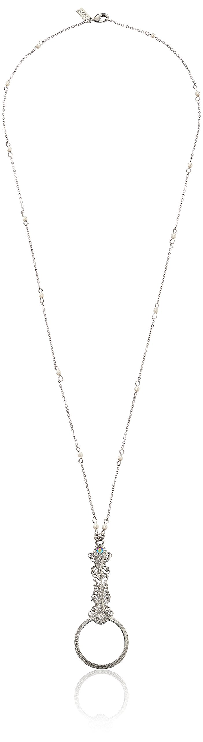 1928 Jewelry Silver-Tone Magnifying Glass with Crystal AB Accent Necklace, 28''