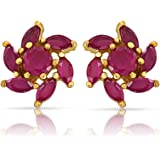 Mahi Eita Collection Red Gold Plated Ruby Earrings for Women - ER1103768G