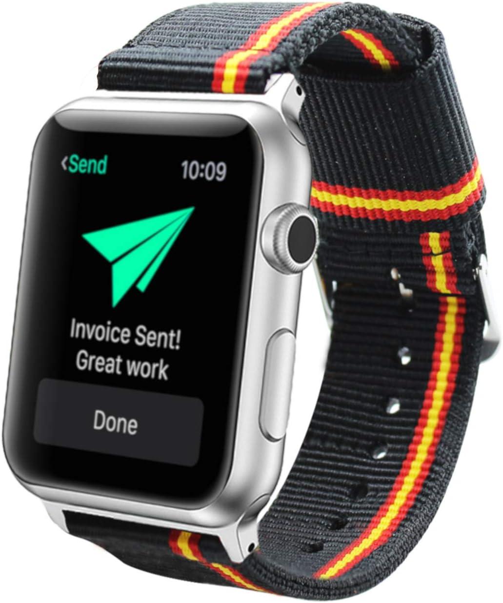 Estuyoya - Pulsera de Nailon Compatible con Apple Watch Colores Bandera de España, Ajustable Estilo Deportiva Casual Elegante para 42mm 44mm Series 6/5 / 4/3 / 2/1 / SE/Nike+: Amazon.es: Electrónica