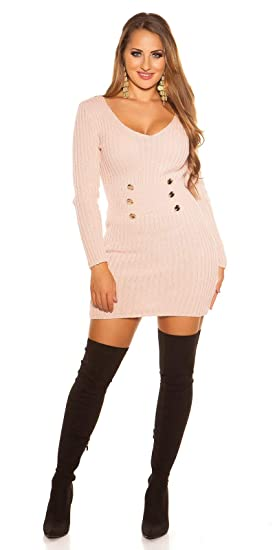 0389aa0d11 fashion boutik Robe Pull col v avec Boutons Femme Sexy Tendance (36, Rose  poudré