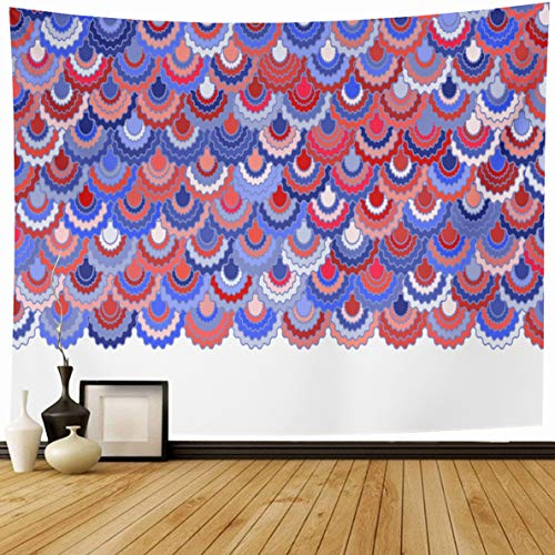 - Ahawoso Tapestry 80 x 60 Inches Patriotic Blue Colors Festive American Ribbons Bunting Holidays Shape Pink Badge Border Curve Home Decor Wall Hanging Print for Living Room Bedroom Dorm
