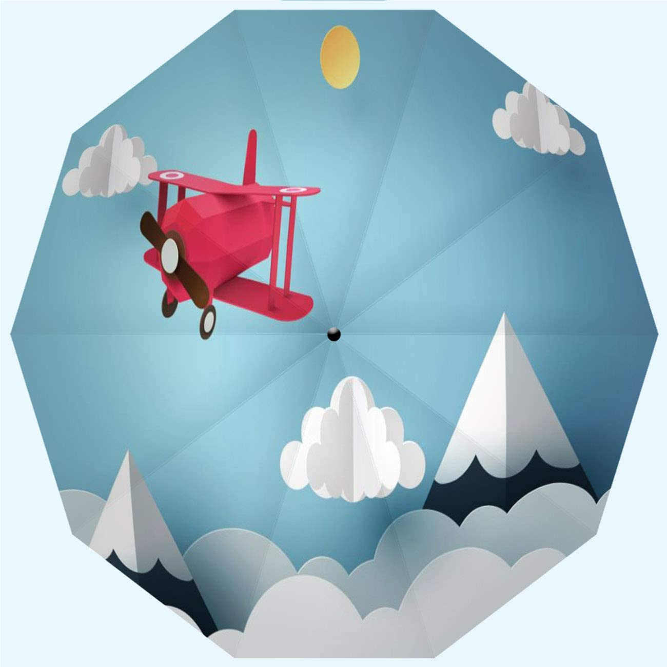 10 Ribs 42 Inches Automatic Opening and Closing,Paper Art of Pink Plane Flying in The Sky Origami and Travel Day Concept,Windproof RLDSESS Art Compact Patio Umbrella Ladies Rainproof Men