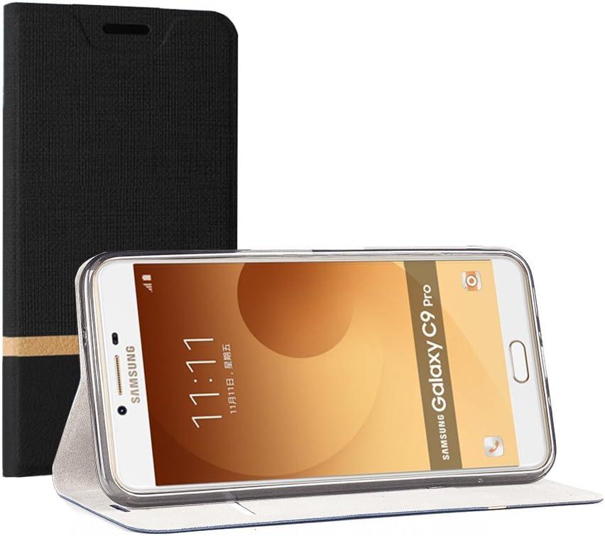 SunFay Funda Samsung Galaxy C9 Pro, Cartera Carcasa Flip Folio Caja Piel PU Suave Super Delgado Estilo Libro,Soporte Plegable para Samsung Galaxy C9 Pro - Negro: Amazon.es: Hogar