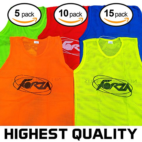 Net World Sports Forza Soccer Training Pinnies/Scrimmage Vests/Sports Bibs - Packs of 5, 10 & 15 - Sizes Ranging from Kids to XL (3. Florescent Green, 8. Kids, Pack of 10)