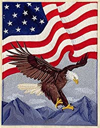 Embroidered Artwork Eagle and American Flag